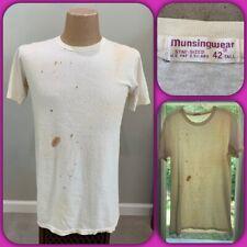 Vtg 60s Munsingwear Paper Thin Blank White T Shirt Punk Burnout Motorcycle Biker