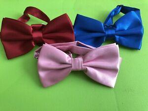 New 3 x Smart Bow Tie Neck Mens Clip-on Satin  Dickie bows Fancy Dress Wedding