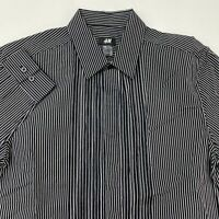 H&M Button Up Shirt Men's Small Long Sleeve Black Gray Striped Casual Cotton