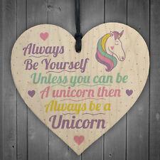 Be Yourself Unicorn Wall Bedroom Wooden Heart Girl Room Sign Inspirational Gift