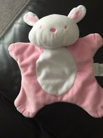 Carters bunny blankie SOFT TOY plush cuddly DOUDOU comforter pink white lapin c5