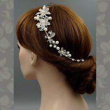 Bridal Accessories Wedding Headpiece Pearl Crystal Headband Hair Pin Tiara 09233