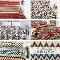 Soft 100%Cotton Duvet Quilt Cover Set Single Double Super King Bedding