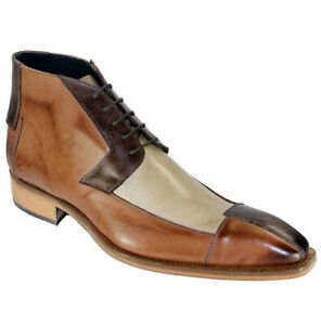 Mens Casual PU Leather Lace Up Ankle Boots Chic Pointed Toe Low Heel Dress Shoes