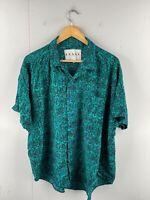 Frank Men's Vintage Short Sleeve Crazy Shirt Size XL Green Made in USA