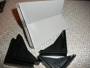 4 X STEEL CABINET FEET PAINTED GREY WITH BLACK PLASTIC FLOOR PROTECTORS