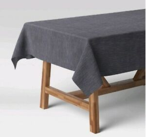 """Oblong Tablecloth Cotton Chambray Blue 60""""×104"""" Threshold New"""