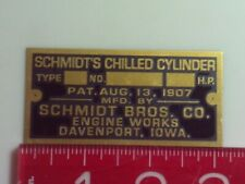 Schmidt's Chilled Cylinder Engine name tag Reproduction Nameplate
