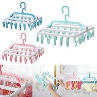 32 Clip Plastic Underwear Sock Hanger Clothes Towel Dryer Laundry Organizer Rack