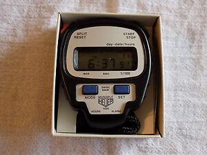 VINTAGE HEUER STOPWATCH MICROSPLIT 1000 IN ORIGINAL BOX WITH LANYARD