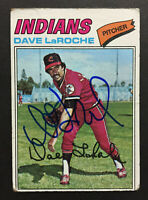Dave LaRoche Indians Signed 1977 Topps Baseball card #385 Auto Autograph