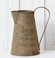 Farmhouse PITCHER CHERISH TIME WITH FRIENDS Primitive Metal Decor Vintage Style