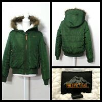 Pacific Trail Faux Fur Bomber Jacket Womens Med. Green Full Zip w Hood Inv#S9961