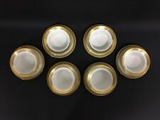 Set of 6 Limoges Gold and White Ramekins and Underplates