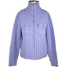 J Crew Blue Wool Zipper Turtleneck Cardigan, Soft Thick 100% Lambswool Large L