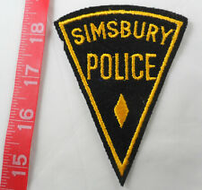 "Old Simsbury Connecticut Police 4-1/8"" Cloth Patch Felt Black Background"