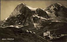 Kleine Scheidegg Kanton Bern Schweiz s/w Postkarte 1927 gelaufen Berg Panorama