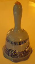 VINTAGE CERAMIC BELL NEW ORLEANS, LA RIVER BOAT & OTHER SCENES BLUE GOLD TIP