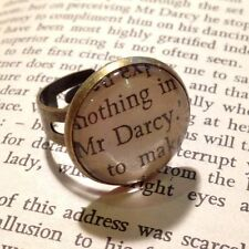 'MR DARCY' JANE AUSTEN UNIQUE VINTAGE STYLE ALTERED BOOK LOVERS QUOTE RING