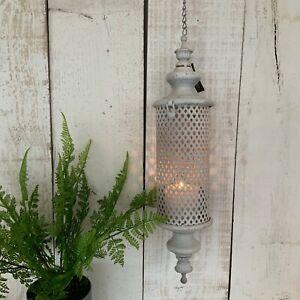 White Hanging Moroccan Lantern Metal Antique Chic Garden