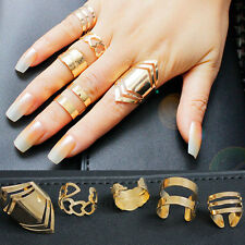 5Pcs Women 18K Gold Plated Knuckle Finger Ring Set Jewelry European Party Gift