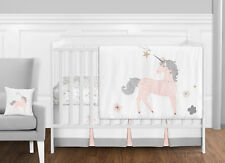 Bumperless Blush Pink Grey Gold Unicorn Floral Toile Girls Crib Baby Bedding Set