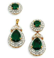 Jackie Kennedy Emerald & Diamond Dangle Earrings in 18K Yellow Gold Over 1 Pair