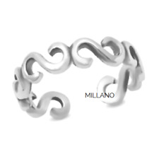 Swirl Band Adjustable Toe Ring Genuine Hallmarked 925 Solid Sterling Silver
