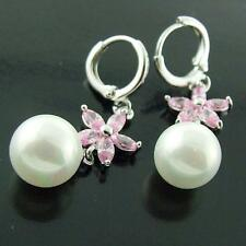 FS339 GENUINE 18K WHITE G/F GOLD PINK STAR DIAMOND SIMULATED PEARL DROP EARRINGS