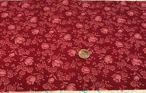 """Tonal Red Flowers & Leaves*100% Cotton Remnant 21"""" x 8"""" *  Kesslers for Concord"""