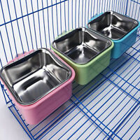 Hang-on Bowl Metal For Pet Dog Cat Crate Cage Food Water Bowl Stainless Steel DT