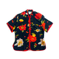 Floral PURE SILK Chinese cheongsam top vintage print women blouse S/M Y67117