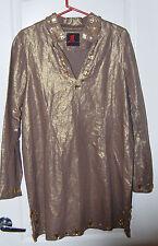 ADRIENNE LANDAU bronze gold LINEN citron embellished TUNIC TOP dress L NEW $239