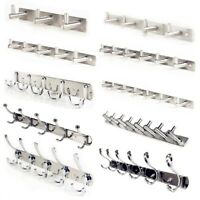 5-15 Hooks Stainless Steel Wall Hanger Coat Robe Towel Clothes Door Rack