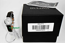 New BULOVA Womens 96L210 All Stainless Steel Brown Leather Dress Watch BNIB $175