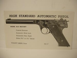 Original High Standard Model H-D Military 22 Cal pistol Brochure Advertisement