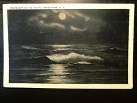 Vintage Postcard>1929>Moonlight on the Ocean>Asbury Park>New Jersey