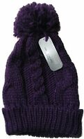 WOMENS / LADIES PURPLE CABLE CHUNKY KNITTED BEANIE HAT WITH POM POM - ONE SIZE