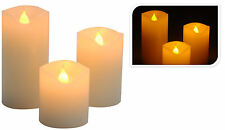 NEW 3 Set Skinny Real Wax Battery Operated LED Flameless Pillar Candles Candle