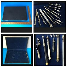LIETZ No. 1624 Blue Velvet-Lined Case w/ Mixed-Lot of Compass Drafting Supplies