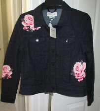 NWT Kate Spade Broome Street Rose Denim Jacket Dark Wash SMALL NEW