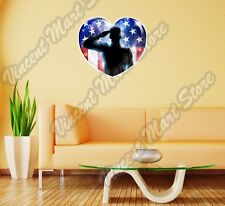 """Soldier Saluting American Flag Army Wall Sticker Room Interior Decor 22""""X22"""""""