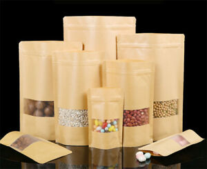 Kraft Paper Bag Resealable Zip Lock Food Grade Stand Up Self-adhesive Bags New