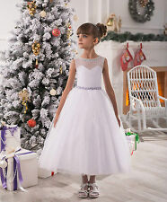 2016 Lace Sheer Flower Girl Dress Birthday Party First communion Dresses Gown