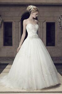 1099W CASABLANCA 2158 SZ 12 IVORY SILVER $1838  BALL GOWN BEADED WEDDING DRESS