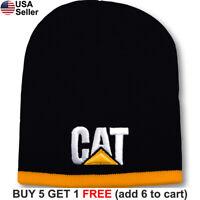 Caterpillar CAT Short Beanie Construction Equipment Skull Cap Logo Tractor Hat