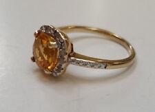 Genuine Citrine & Diamond Gemstone 18k Gold 925 Sterling Silver Ring  NEW Size 7
