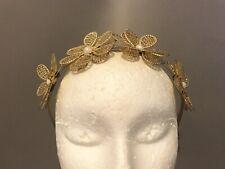 Gold Flower Crown Pearl Headband Handmade