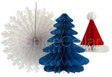 Honeycomb Paper Christmas Decorations Santa Hat - Xmas Tree - Snowflake