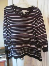 Sag Harbor Women's Black Striped Sweater, 2X